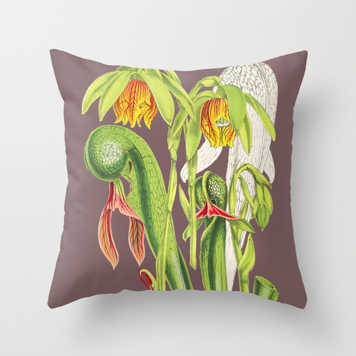 Cobra plant botanical throw pillow