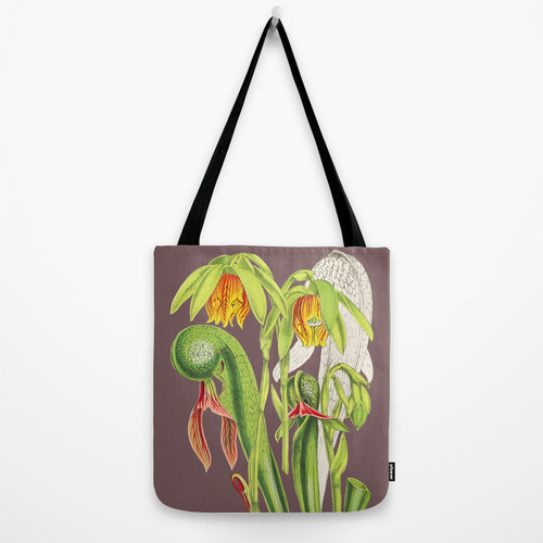 Cobra plant botanical tote bag
