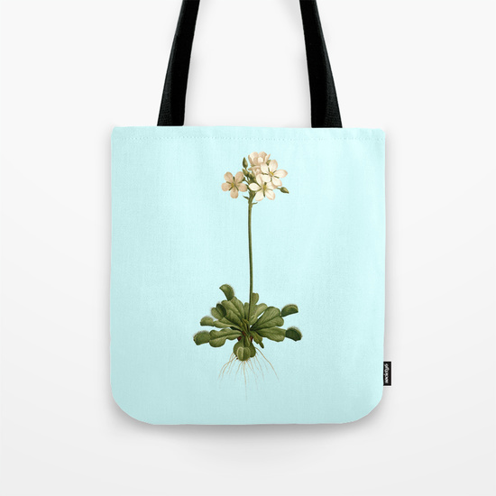 Vintage Venus flytrap illustration on blue tote bag.